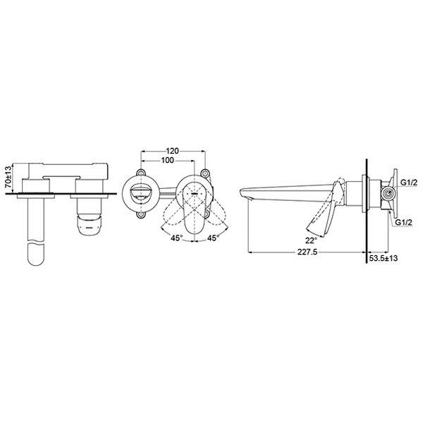 TLS04309B - LF - Wall-Mounted Single Lever Lavatory Faucet (Long Spout)