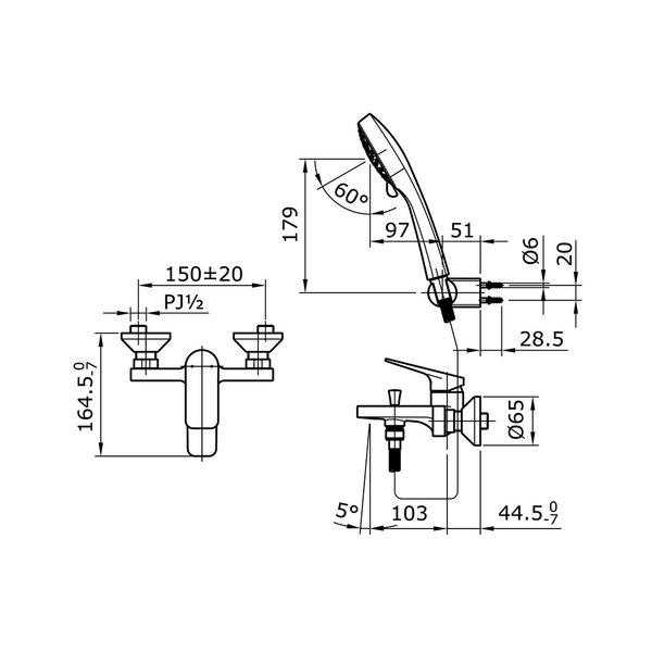 TX471SRSN - REI S - Single Lever Bath & Shower Set