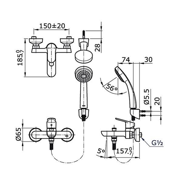 TX471SUN - UMI - Single Lever Bath & Shower Set