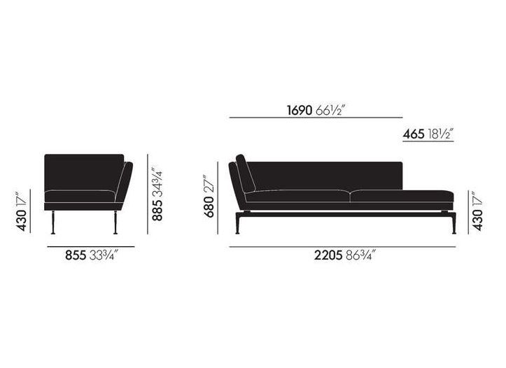 VITRA - Suita Chaise Lounge  Large (Right)