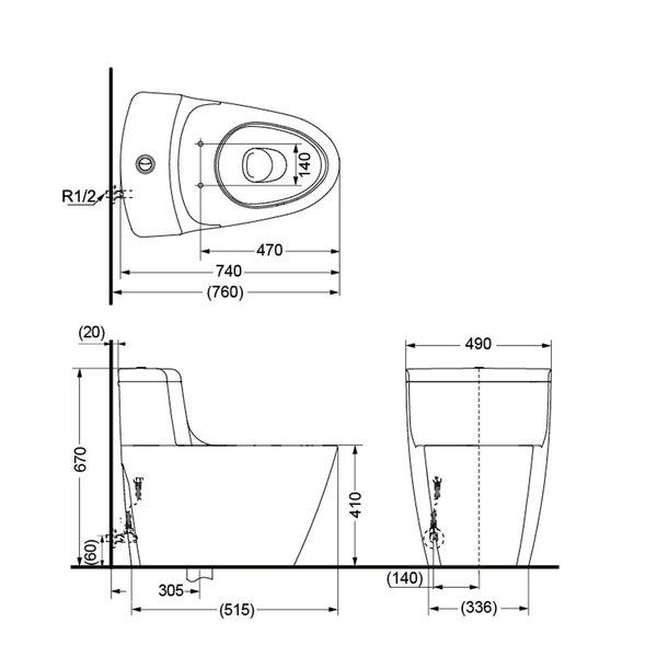C636CDE - One Piece Toilet
