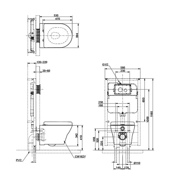 CW162Y - Wall Hung Toilet