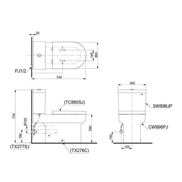 CW896PJ - OMNI+ - Close Coupled Toilet