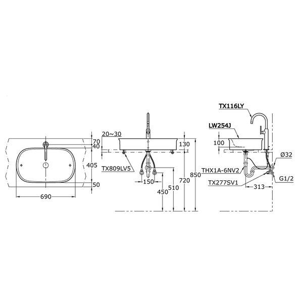 LW254J - HAYON - Console Lavatory