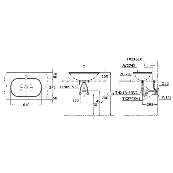 LW274J - ALISEI - Console Lavatory