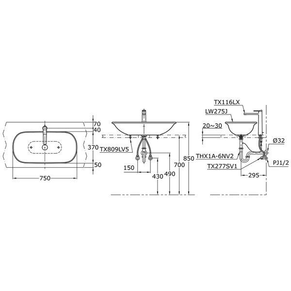 LW275J - ALISEI - Console Lavatory