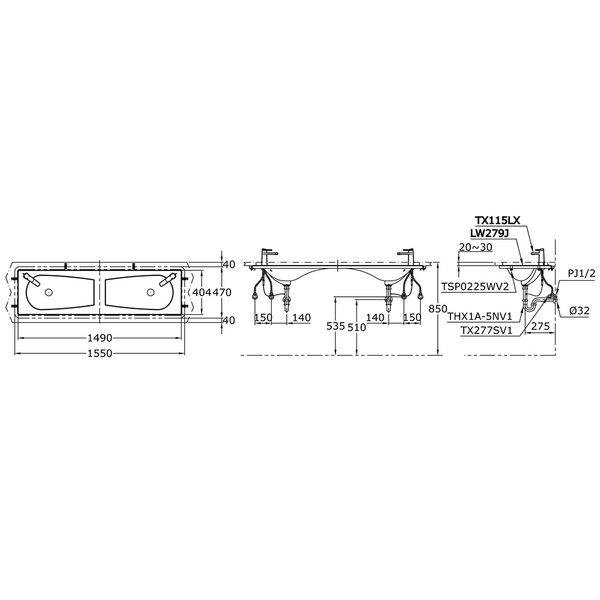 LW279J - ALISEI - Twin Under Counter Lavatory