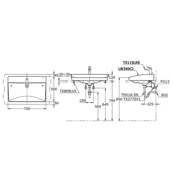 LW340CJ - Console Lavatory