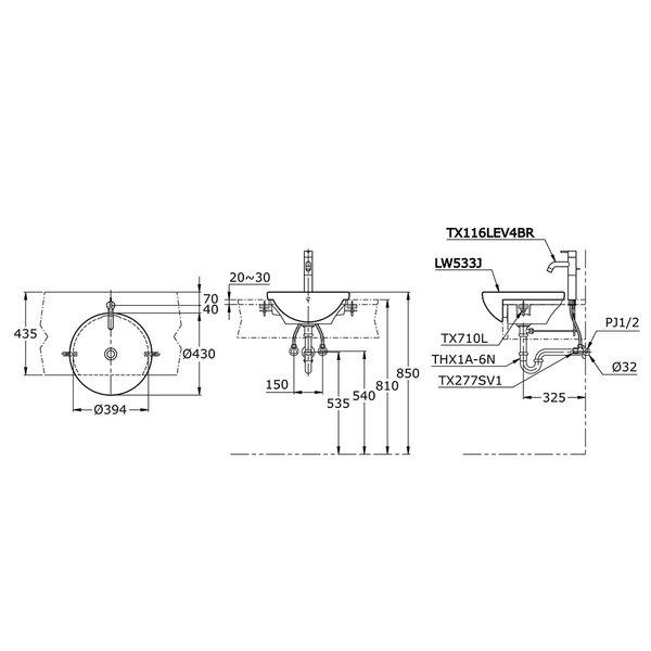 LW533J - Semi Recessed Lavatory