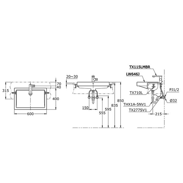 LW646J - Semi Recessed Lavatory
