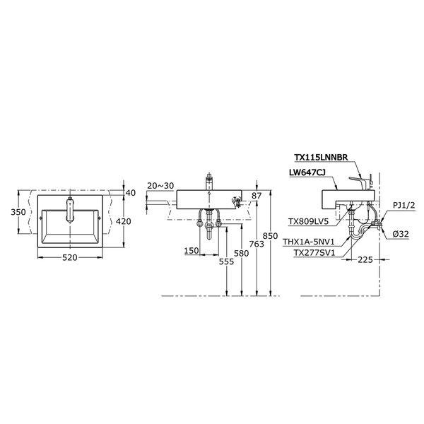 LW647CJ - Semi Recessed Lavatory