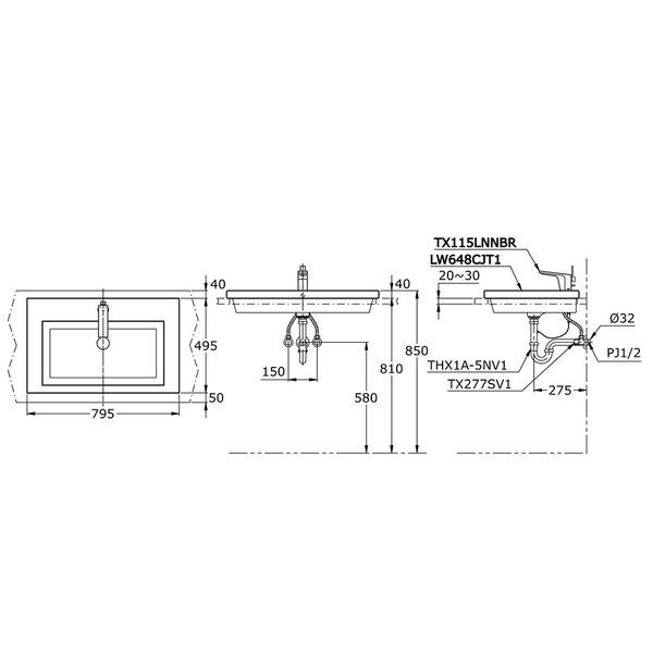 LW648CJT1 - Self Rimming Lavatory