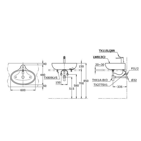 LW813CJ - LE MUSE - Console Lavatory