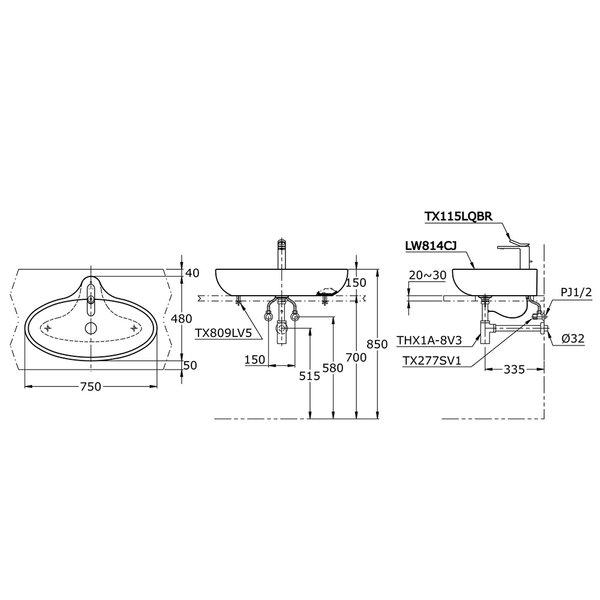 LW814CJ - LE MUSE - Console Lavatory