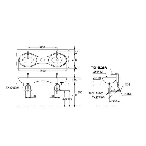 LW816J - LE MUSE - Console Lavatory
