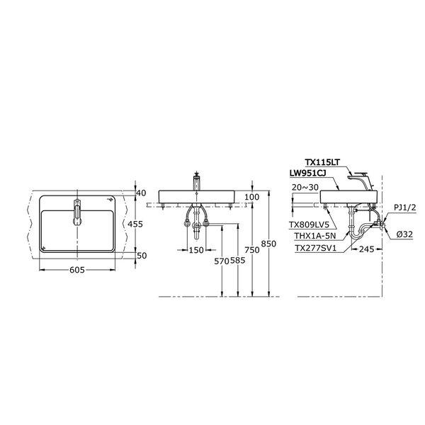 LW951CJ - TOJA - Console Lavatory