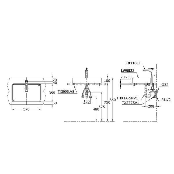 LW952J - TOJA - Console Lavatory