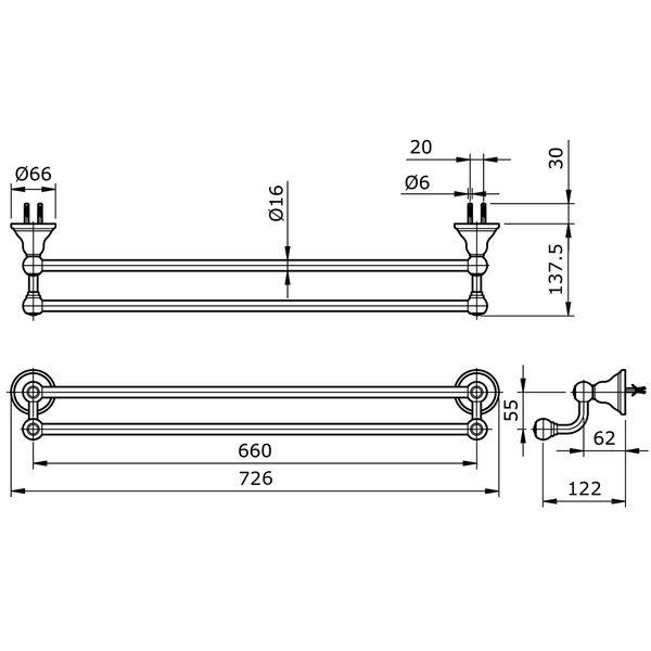 TX724AC - CURIO - Double Towel Bar
