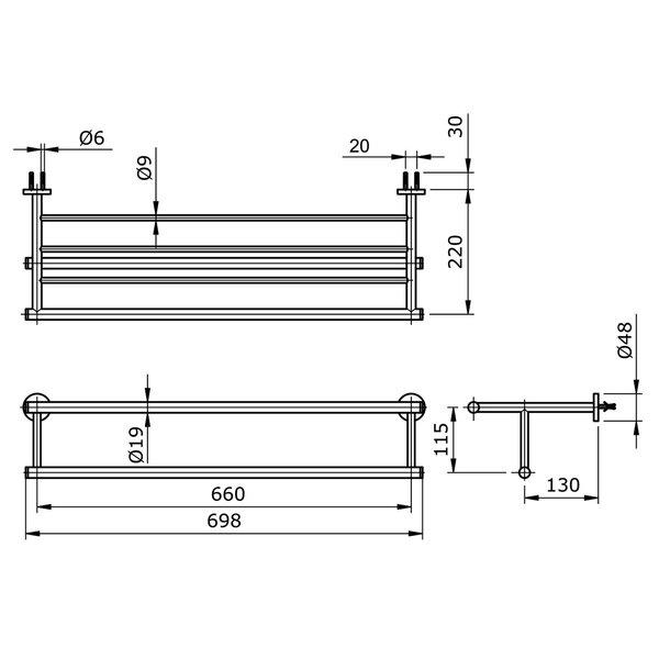 TX726AES - EGO II - Combination Towel Shelf & Towel Bar