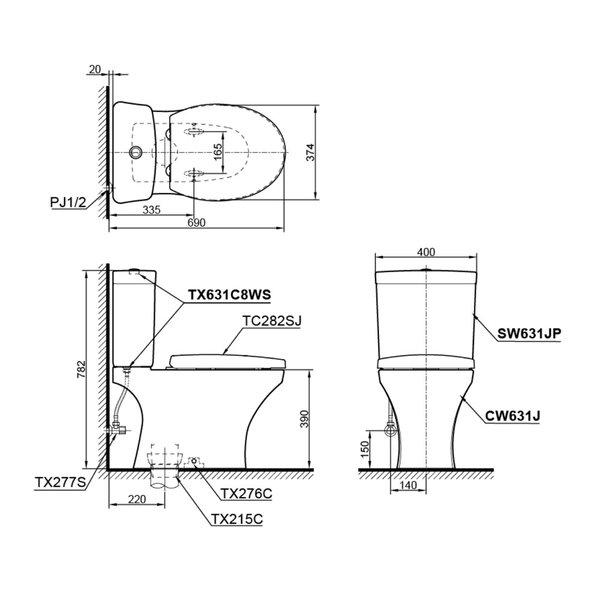 CW631J - Close Coupled Toilet