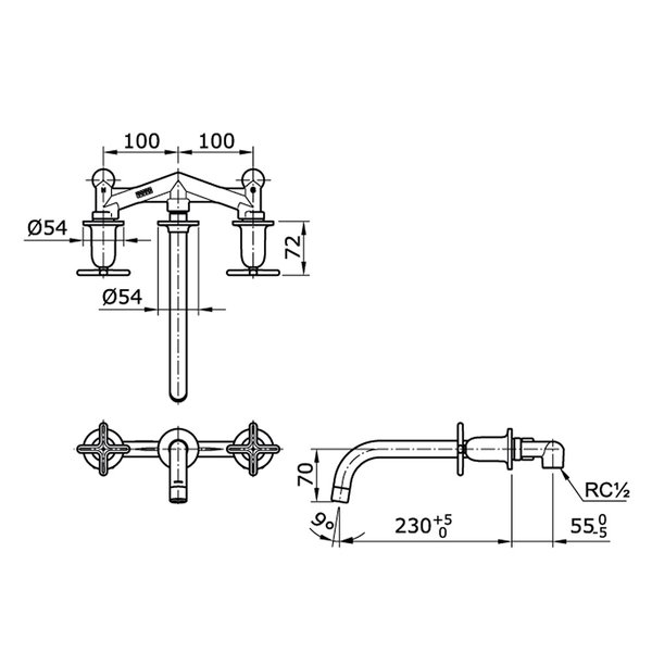 TX118LYC#MB - HAYON - Cross Handle Combination Wall Type Lavatory Faucet (Matte Black)