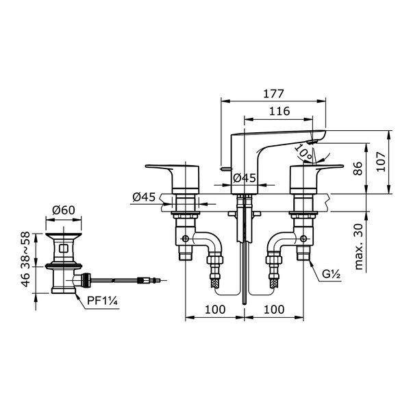"TX119LRR - REI R - 8"" Lavatory Faucet with Pop-Up Waste 2"