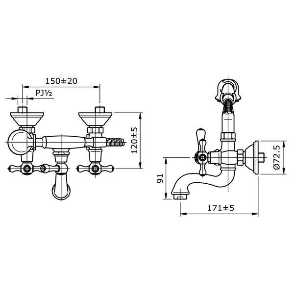 TX411SC - CURIO - Cross Handle Combination Bath & Shower Set