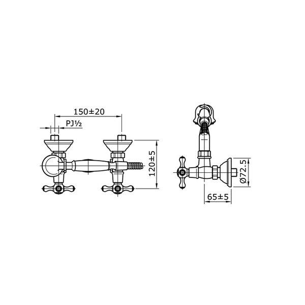 TX416SC - CURIO - Cross Handle Combination Shower Set