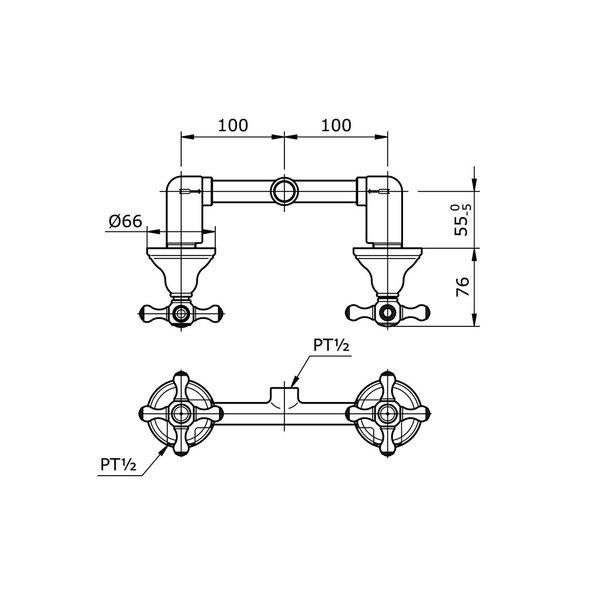 TX419SCBR - CURIO - Cross Handle Mixing Valve for Shower