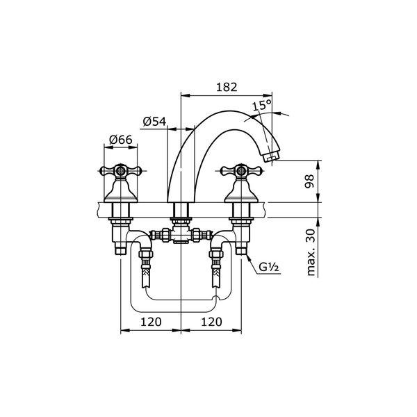 TX430SCBR - CURIO - Cross Handle Bath Filler