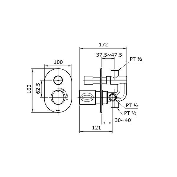 TX442SQBR - LE MUSE - Progressive Bath & Shower Mixer with Diverter