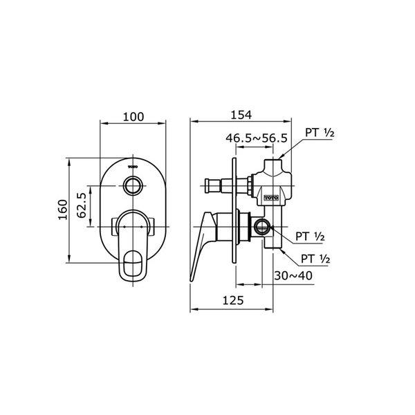 TX442SRRN - REI R - Single Lever Bath & Shower Mixer with Diverter
