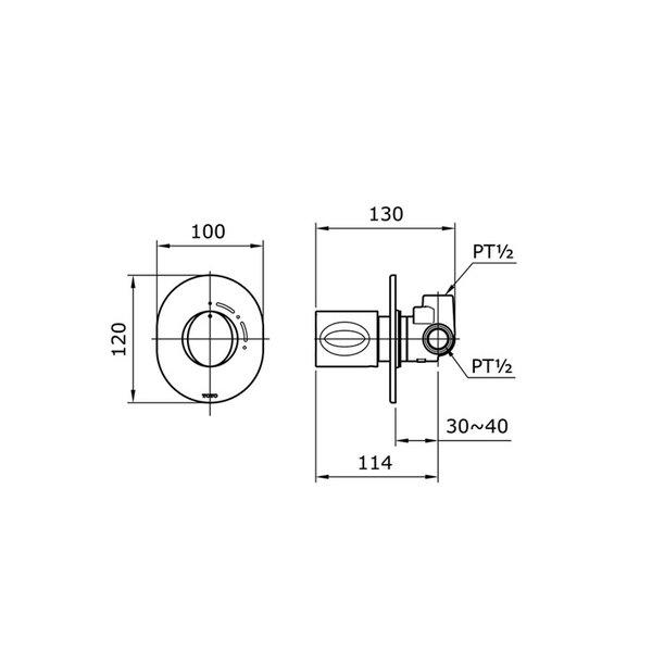 TX443SQBR - LE MUSE - Progressive Shower Mixer
