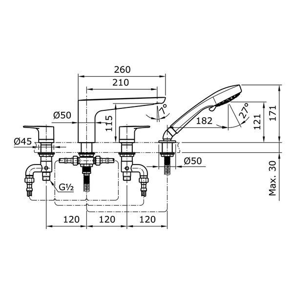 TX447SRR - REI R - 4 Holes Bath & Shower Set