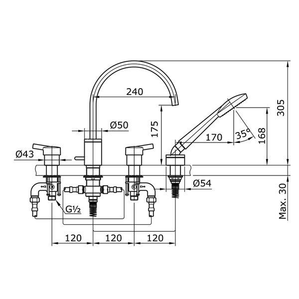 TX447SV - VASIL - 4 Holes Bath & Shower Set