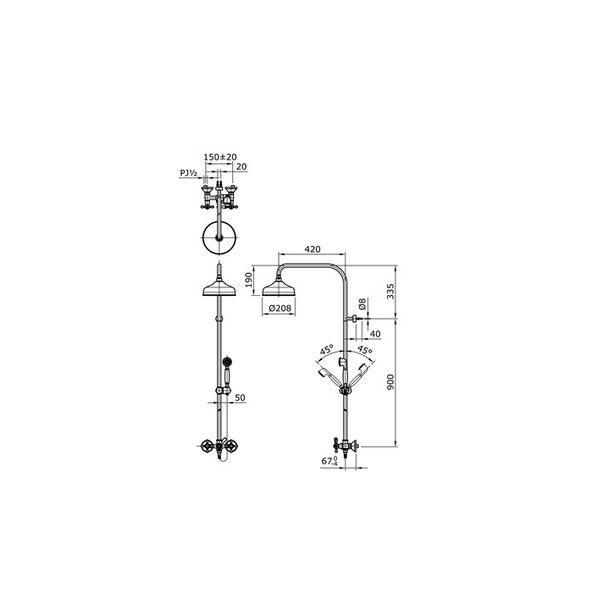 TX492SCZ - CURIO - Cross Handle Shower Column Set